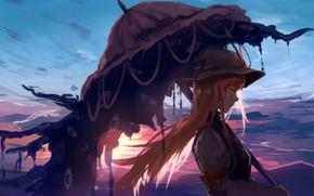 Картинка girl, long hair, sunset, umbrella, anime, artwork, Touhou, symbols, anime girl, Yakumo Yukari
