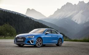 Картинка дорога, авто, лес, горы, Audi, Sedan, S4, A4