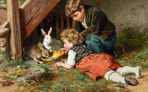 Обои German painter, немецкий живописец, Кормёжка во второй половине дня, Felix Schlesinger, Феликс Шлезингер, Feeding in ...