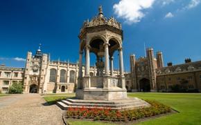 Картинка Англия, фонтан, Кембридж
