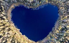 Картинка озеро, отражение, сердце, heart, lake, reflection, Christian Lindsten