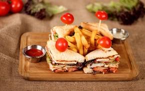 Картинка еда, картофель фри, бутерброды, разделочная доска, соусы, помидоры-черри