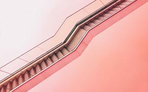 Картинка путь, розовый, лесница, розовый фон, эскалатор