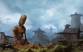 Картинка Дома, Город, Робот, Хлам, Деревня, Ржавый, Механика, City, Арт, Art, Robot, Техника, Фантастика, Village, Steampunk, …