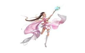 Картинка Girl, Fantasy, Art, Style, Background, Minimalism, Dress, Character, Staff, Jianyachi L