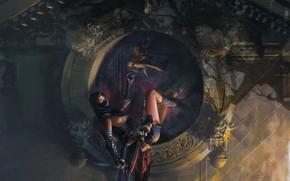 Картинка girl, fantasy, weapon, Warrior, assassin, digital art, artwork, hawk, fantasy art, hunter, sitting, dagger, fantasy …