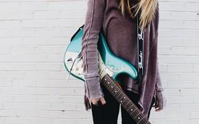Картинка music, girl, guitar, girls, blue, strings, musician, musical instrument, electric guitar, 4k ultra hd background