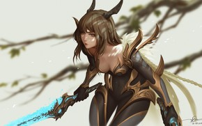 Картинка girl, sword, game, armor, woman, anime, beautiful, pretty, ken, blade, asian, cute, warrior, manga, oriental, …