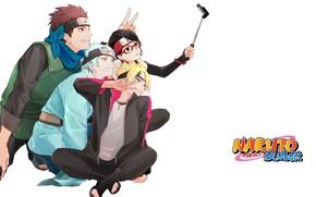Картинка очки, белый фон, ниндзя, друзья, улыбки, сэлфи, Boruto, повязка на лоб, Boruto Naruto The Next …