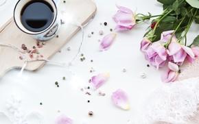 Картинка цветы, кофе, букет, завтрак, чашка, декор
