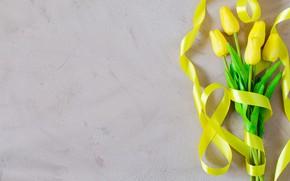 Картинка любовь, букет, желтые, лента, тюльпаны, love, yellow, flowers, romantic, tulips