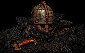 Картинка Чёрный фон, Вендельская эпоха, Valsgärde 8, Меч Вальсгарде 8, Шлем Вальсгарде 8