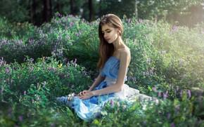 Картинка поле, лето, девушка, цветы, природа, милая, платье, Арбузова Вилина