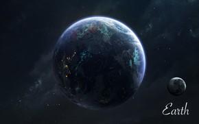 Картинка Звезды, Луна, Планета, Космос, Земля, Moon, Арт, Stars, Space, Art, Earth, Planet, Universe, Galaxy, Система, …