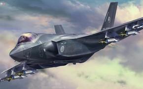 Картинка япония, истребитель-бомбардировщик, JGSDF, Lockheed Martin F-35, Tankro Kato, F-35A Lightning II (A Version) Beast Mode …