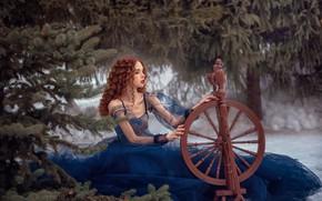Картинка зима, взгляд, девушка, поза, елка, веретено, Анисимова Наталия