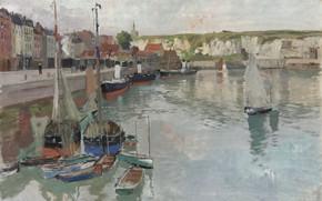 Картинка норвежский живописец, Фриц Таулов, Frits Thaulow, Norwegian impressionist painter, oil on canvas, Дьеп, Dieppe