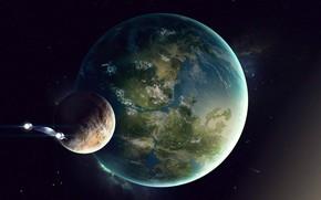 Картинка Игра, Планета, Космос, Fantasy, Blizzard, Art, Космический Корабль, Спутник, fan art, Illustration, Concept Art, StarCraft, …