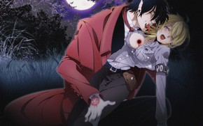 Картинка девушка, ночь, кровь, вампир, Hellsing, Хеллсинг
