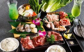 Картинка еда, мясо, рис, коктейли, сервировка, азиатская кухня