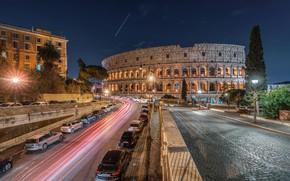 Картинка дорога, машины, ночь, Рим, Италия, Ватикан