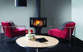 Картинка цветы, стол, комната, кресла, камин, планшет, гостиная