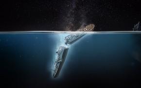 Картинка wide, wallpaper, ocean, blue, night, boat, titanic, iceberg, accident, tragedy, dreampiks, white star line, rms …