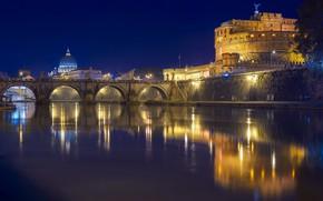 Картинка Рим, Италия, Тибр, Мост Святого Ангела, Замок Святого Ангела, моост