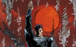 Картинка fantasy, red eyes, sun, comics, Superman, artwork, superhero, costume, DC Comics, cape, dark multiverse