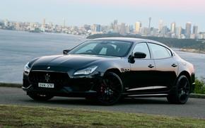 Картинка город, Maserati, Quattroporte, вечер, Австралия, 2018, GTS, AU-spec, GranSport, Nerissimo Edition