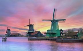 Картинка пейзаж, закат, мельницы