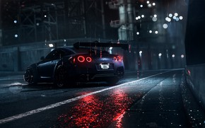 Картинка Авто, Ночь, Машина, Дождь, Nissan, GT-R, Need for Speed, Daredevil, Рендеринг, Nissan GT-R, Game Art, ...