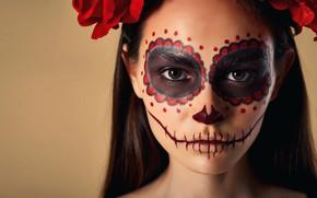 Картинка взгляд, девушка, лицо, фон, макияж, Halloween, Хэллоуин, Никита Орлов, Марина Марсалова, Sugar Skull Girl
