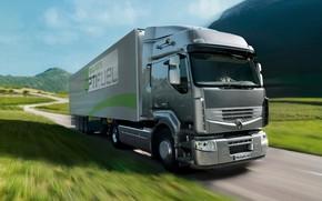 Картинка трава, серый, движение, грузовик, Renault, седельный тягач, 4x2, полуприцеп, Premium Route, Renault Trucks