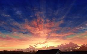 Картинка небо, лучи, закат