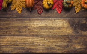 Картинка осень, листья, фон, дерево, colorful, тыква, доска, wood, background, autumn, leaves, осенние, maple