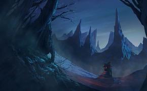Картинка Горы, Скалы, Дом, Fantasy, Арт, Art, Фантастика, Bandith KHAMCHANH, the Hearth, by Bandith KHAMCHANH