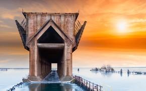 Картинка закат, берег, залив