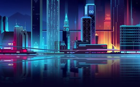 Картинка Вода, Дома, Отражение, Ночь, Вектор, Город, Река, Стиль, Здания, Здание, Архитектура, Арт, Отражеие, Romain Trystram, …