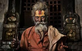 Картинка Nepal, Hindu Priest, Pashupatinath Temple