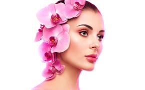 Картинка цветы, лицо, модель, портрет, макияж, прическа, белый фон, красотка, орхидеи, Oleg Gekman