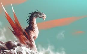 Картинка Дракон, Монстр, Ящер, Fantasy, Dragon, Art, Фантастика, Dark Souls, ömer tunç, by Omer Tunc, Omer …