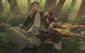 Картинка крылья, фэнтези, девочка, мужчина, Zhao-P, by Zhao-P