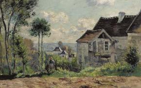 Картинка пейзаж, картина, Ферма, Victor Vignon, Виктор Виньон