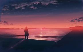 Картинка море, закат, силуэт, мужчина, K.Hati