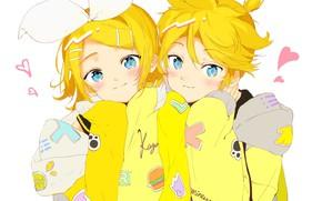 Картинка мальчик, девочка, сердечки, Kagamine Rin, Kagamine Len, Vocaloids