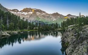 Картинка пейзаж, горы, природа, озеро, Испания, леса, берега, Пиренеи, Эскарпиноса