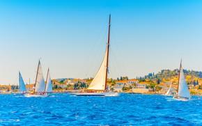 Картинка море, город, побережье, яхты, Греция, паруса, Greece, Lefkas, Лефкас
