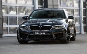 Картинка BMW, седан, вид спереди, G-Power, 2018, BMW M5, четырёхдверный, M5, F90, тёмно-серый