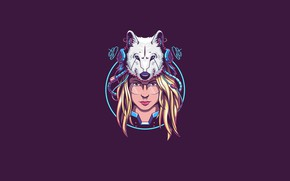 Картинка Girl, Fantasy, Art, Vector, Wolf, Background, Illustration, Minimalism, Face, Cyber, Angga Tantama, Miss Andie FTW